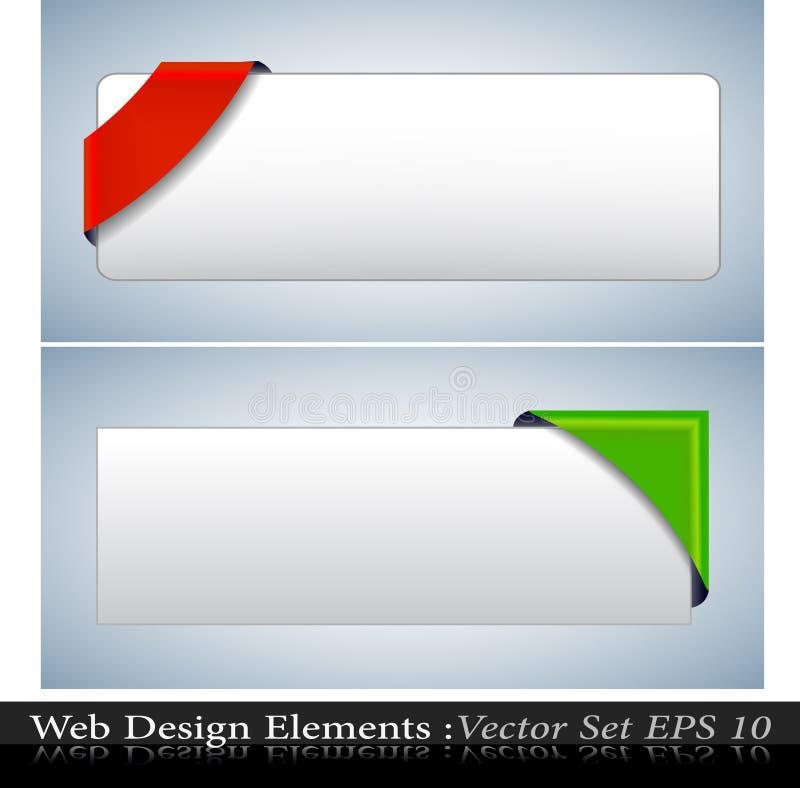 Le vecteur a coloré le positionnement faisant le coin de bande illustration stock