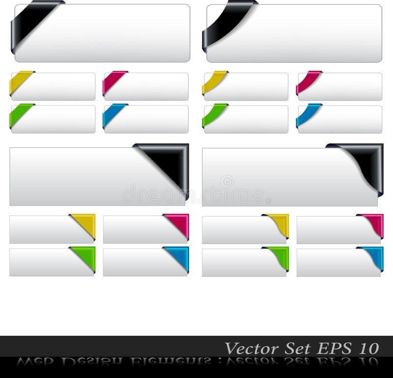 Le vecteur a coloré le positionnement faisant le coin de bande illustration de vecteur