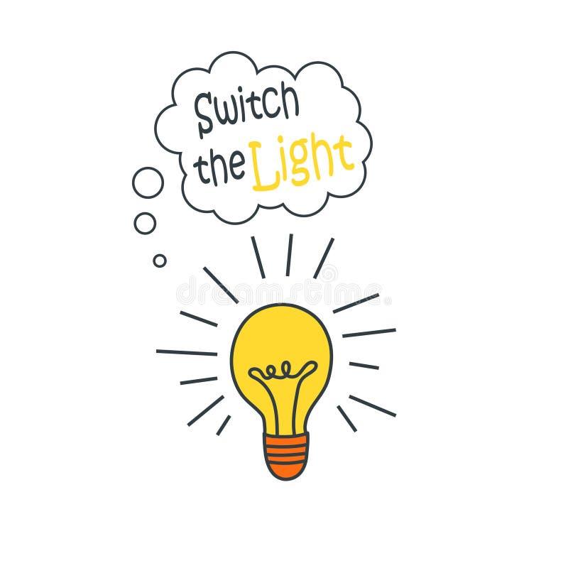 Le vecteur a commuté l'icône d'ampoule illustration libre de droits