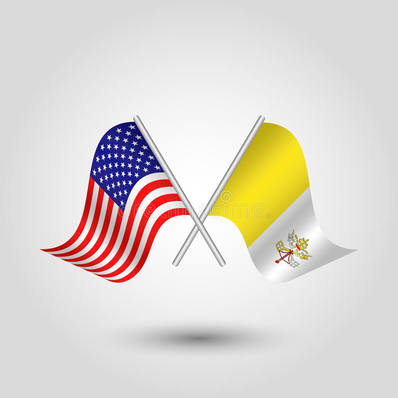 Le vecteur a croisé l'Américain et les drapeaux de vatican sur les bâtons argentés - symbole des Etats-Unis d'Amérique et de cité illustration stock