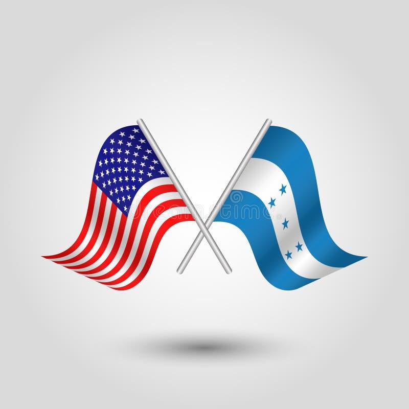 Le vecteur a croisé les drapeaux américains et honduriens sur les bâtons argentés - symbole des Etats-Unis d'Amérique et du Hondu illustration stock