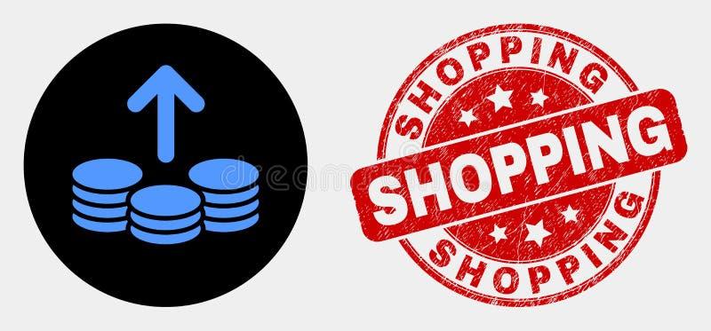 Le vecteur dépensent invente le joint d'icône et de timbre d'achats de détresse illustration libre de droits