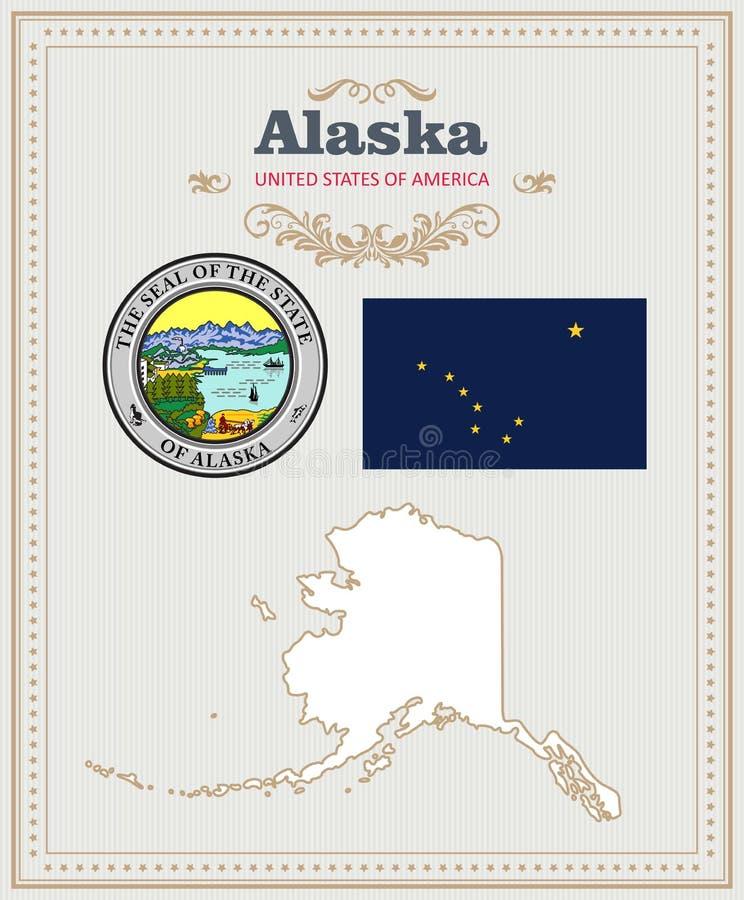 Le vecteur détaillé élevé a placé avec le drapeau, le manteau des bras, carte de l'Alaska Affiche américaine Carte de voeux illustration libre de droits