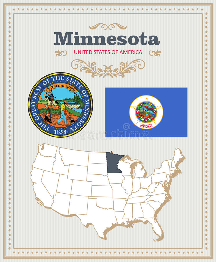 Le vecteur détaillé élevé a placé avec le drapeau, manteau des bras Minnesota Affiche américaine Carte de voeux illustration de vecteur