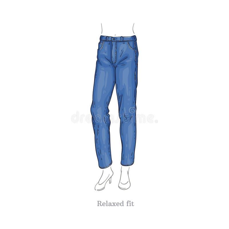 Le vecteur a détendu les jeans convenables de style, pantalon femelle de denim illustration libre de droits