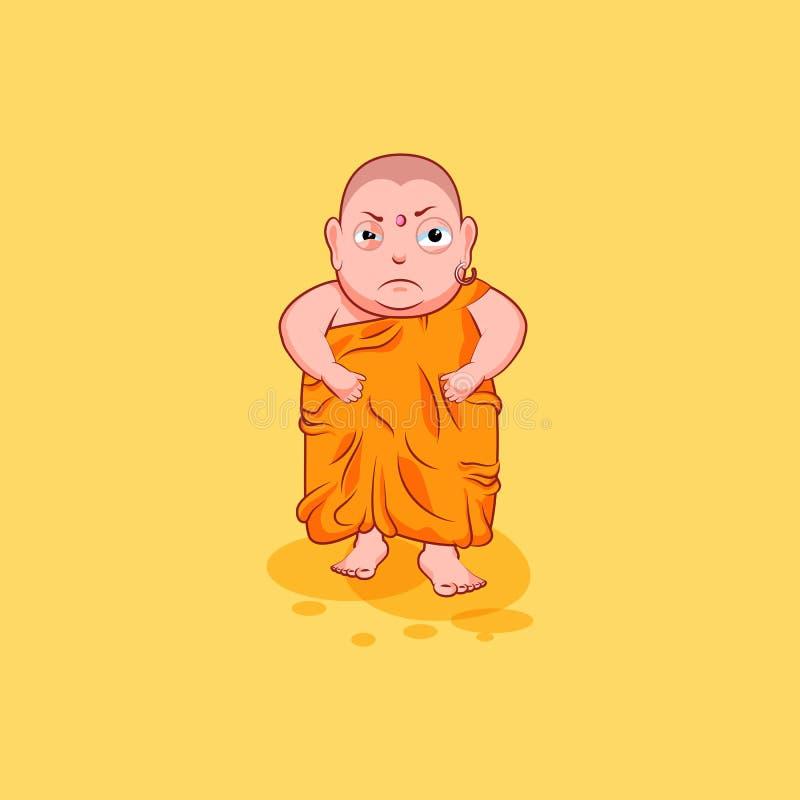 Le vecteur d'émotion d'émoticône d'emoji d'autocollant a isolé la bande dessinée malheureuse Bouddha fâché de caractère d'illustr illustration de vecteur