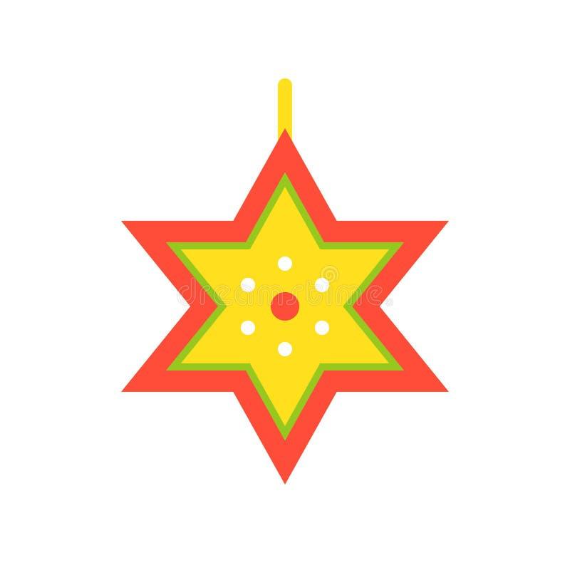 Le vecteur d'étoile de David, Noël a rapporté l'icône plate de style illustration stock