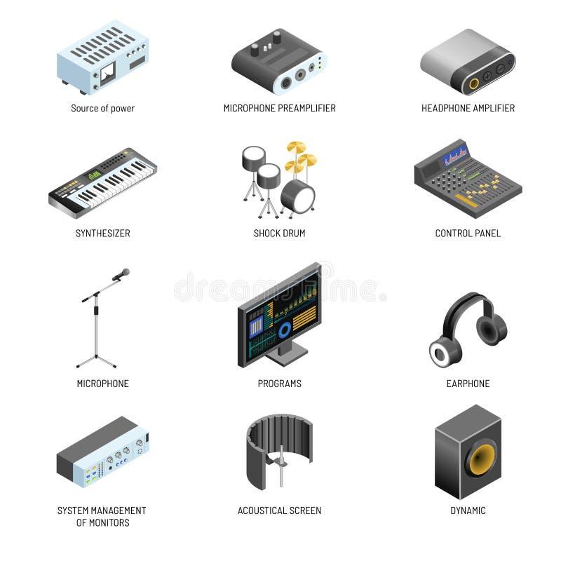 Le vecteur d'appareils de communication et d'adaptateurs de connexion ou de contrôleurs de système de bruit et de vidéo a isolé d illustration stock