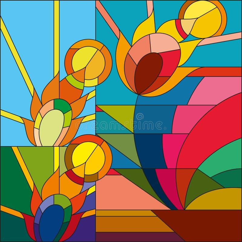 Le vecteur d'art déco a coloré la plume géométrique de fleur dans le modèle de soleil Modèle en verre souillé d'art déco illustration stock