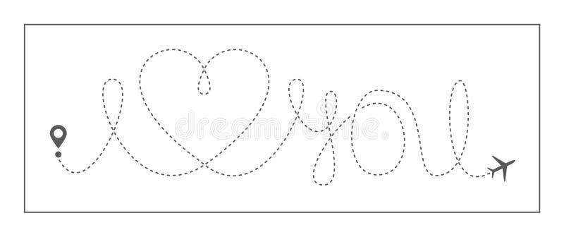 Le vecteur d'avion d'amour de voyage de coeur aiment l'air hearted de vol de chemin d'avion d'icône de trace à ligne pleine roman illustration de vecteur