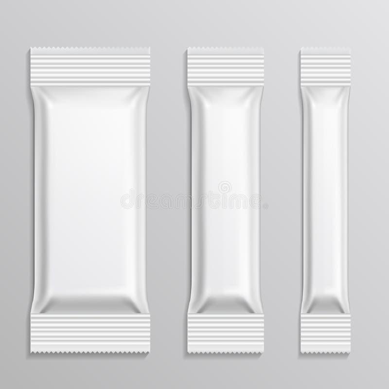 Le vecteur d'emballages en plastique de bâton a placé pour le produit de casse-croûte, café, sel, sucre, poivre, épices illustration de vecteur