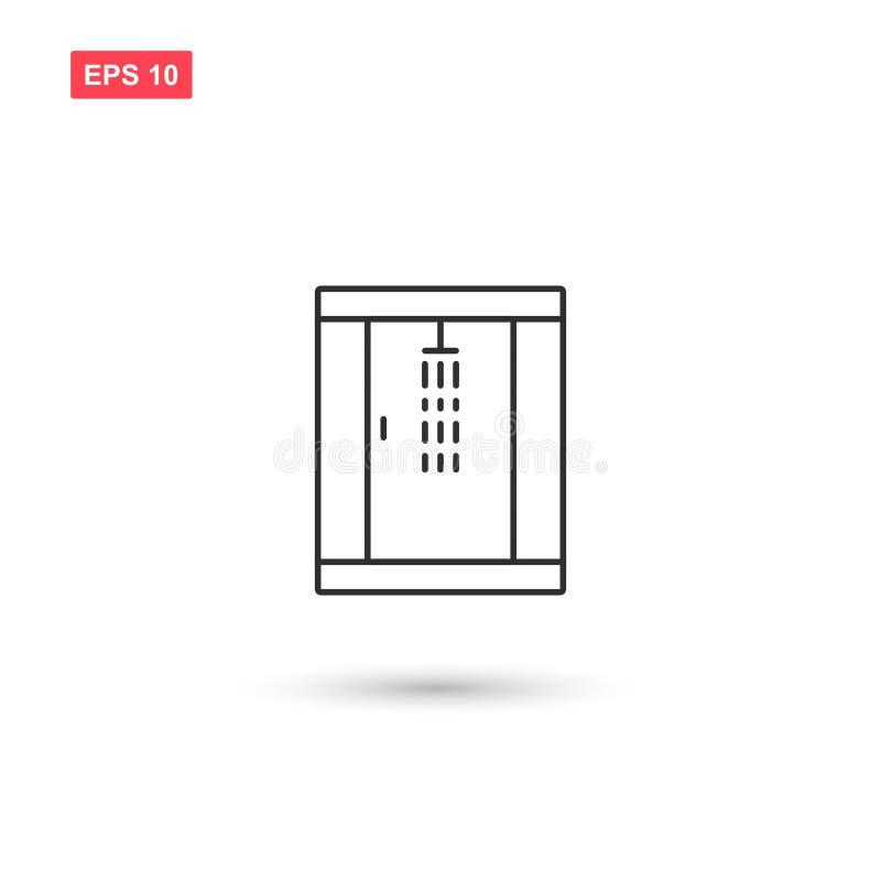Le vecteur d'icône de cabine de douche a isolé 8 illustration stock