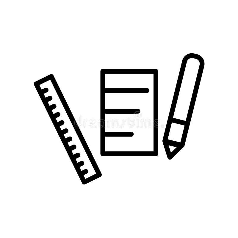 Le vecteur d'icône de crayon d'isolement sur le fond blanc, crayonnent des éléments de signe, de ligne et d'ensemble dans le styl illustration libre de droits