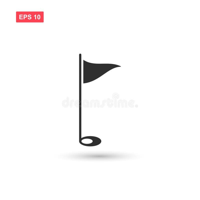 Le vecteur d'icône de drapeau de golf a isolé 3 illustration stock
