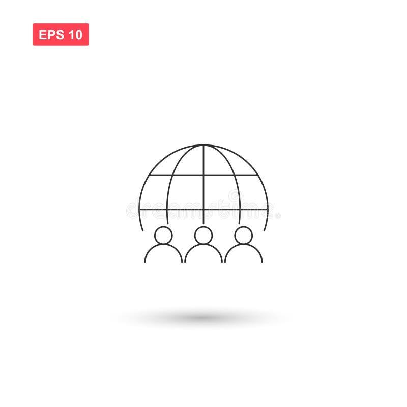 Le vecteur d'icône de globe de groupe a isolé illustration de vecteur
