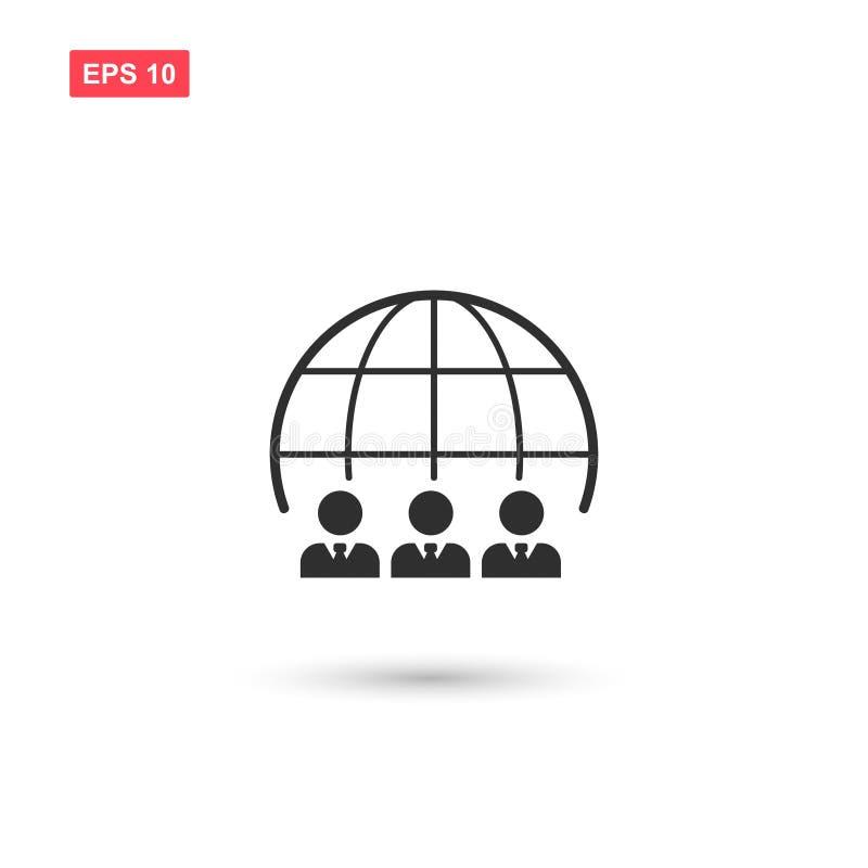 Le vecteur d'icône de globe de groupe a isolé 3 illustration stock
