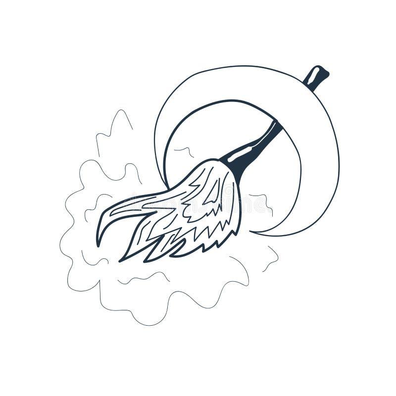 Le vecteur d'icône de lune et de balai d'isolement sur le fond blanc, musardent illustration stock