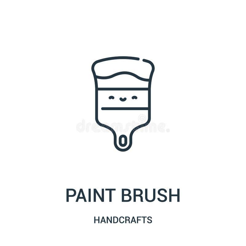 le vecteur d'icône de pinceau de handcrafts la collection Ligne mince illustration de vecteur d'icône d'ensemble de pinceau Symbo illustration stock