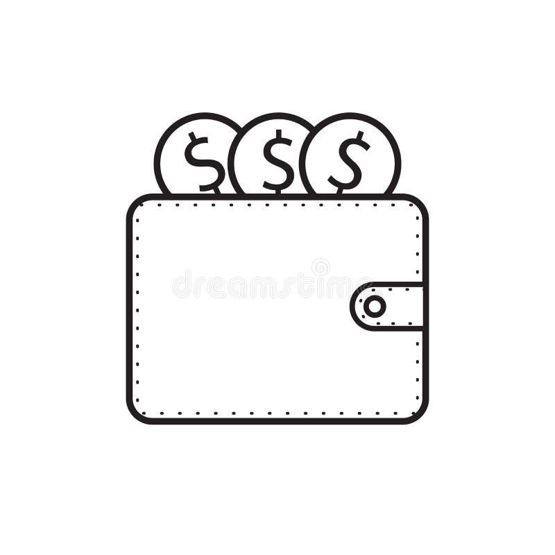 Le vecteur d'icône de portefeuille et d'argent du dollar conçoivent l'illustration illustration stock