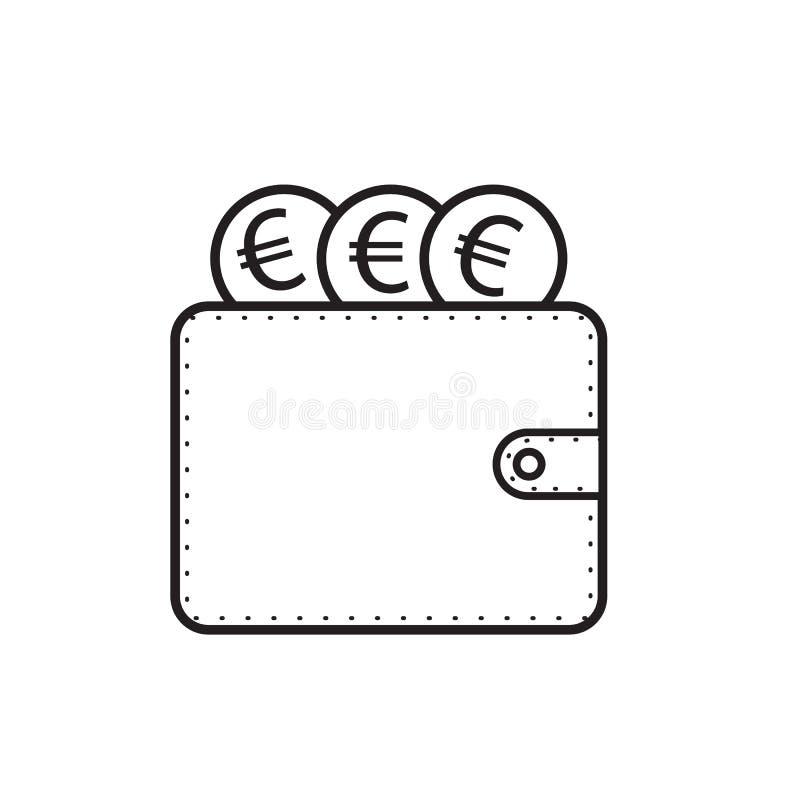 Le vecteur d'icône de portefeuille et d'argent d'euro conçoivent l'illustration illustration libre de droits