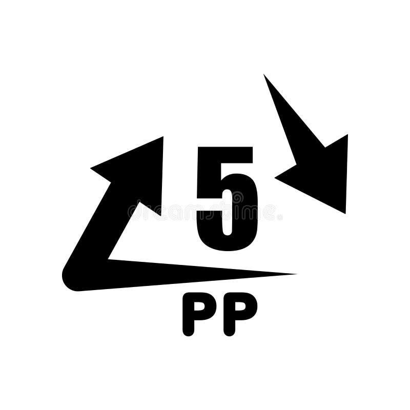 Le vecteur d'icône de 5 pp d'isolement sur le fond blanc, 5 pp signent, warni illustration libre de droits