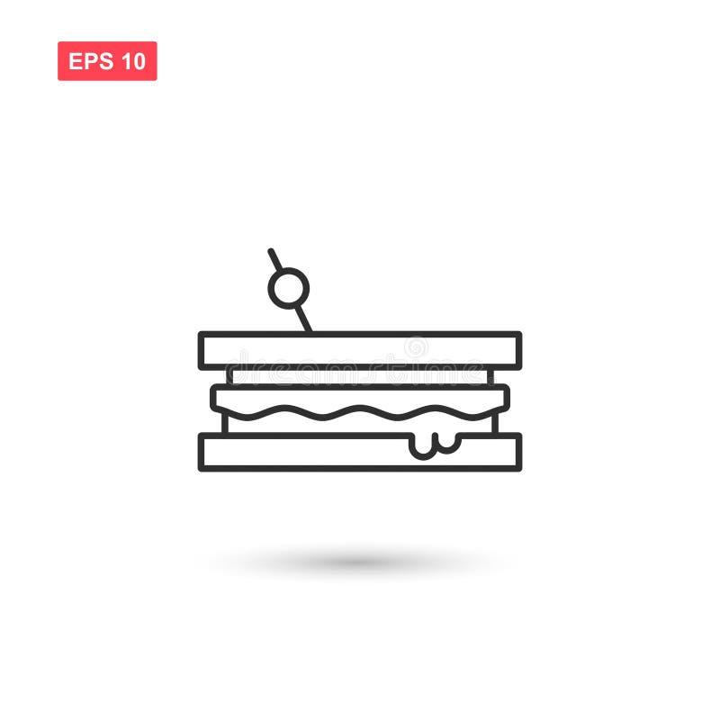 Le vecteur d'icône de sandwich a isolé 3 illustration libre de droits