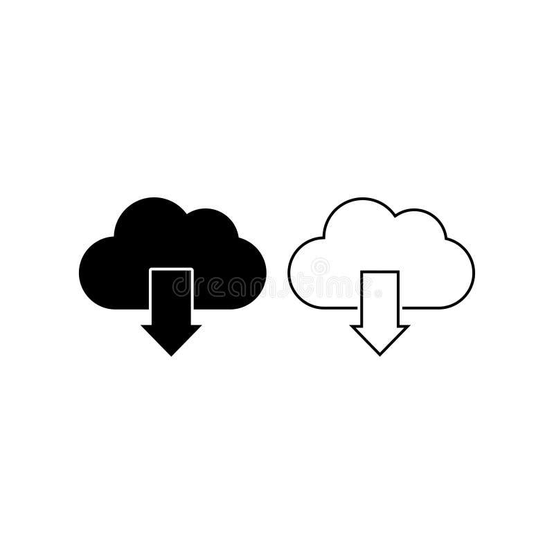 Le vecteur d'icône de téléchargement de nuage a isolé 5 illustration libre de droits