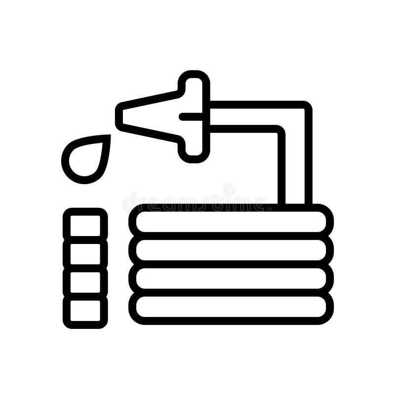Le vecteur d'icône de tuyau d'isolement sur le fond blanc, arrosent le signe, la ligne ou le signe au jet linéaire, conception d' illustration libre de droits