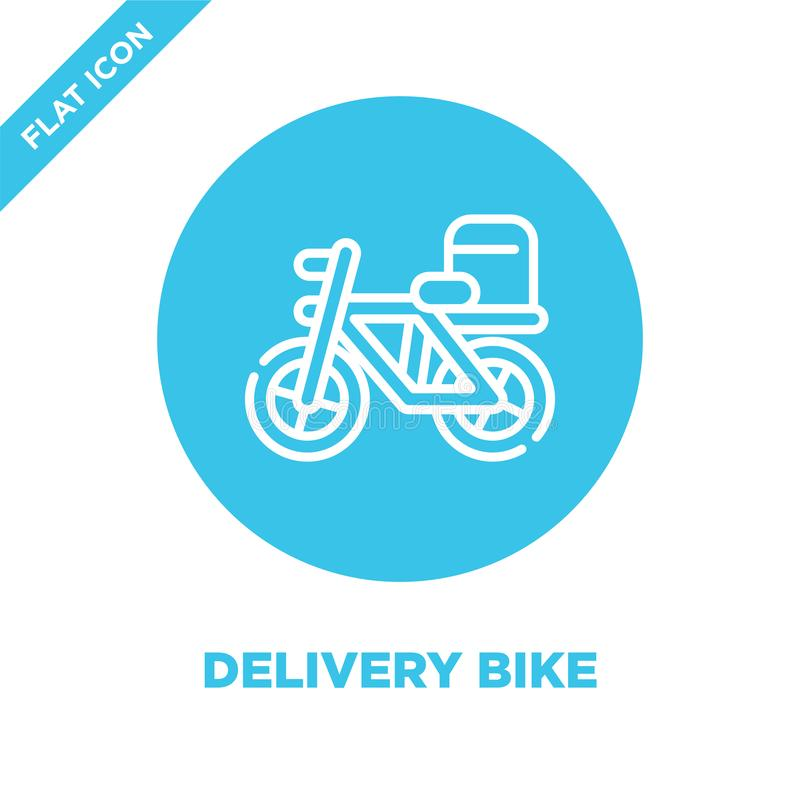 le vecteur d'icône de vélo de la livraison de emportent la collection Ligne mince illustration de vecteur d'icône d'ensemble de v illustration de vecteur