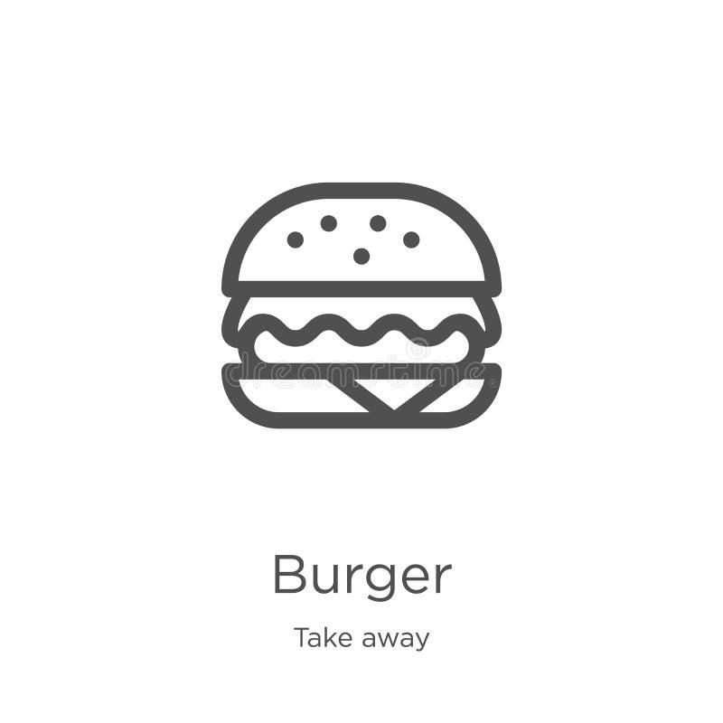 le vecteur d'icône d'hamburger de emportent la collection Ligne mince illustration de vecteur d'icône d'ensemble d'hamburger Cont illustration libre de droits