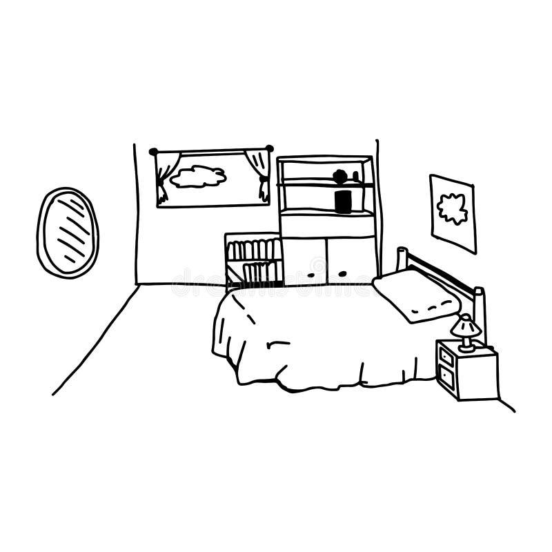 Le vecteur d'illustration gribouille la chambre à coucher tirée par la main avec des objets vrais illustration stock