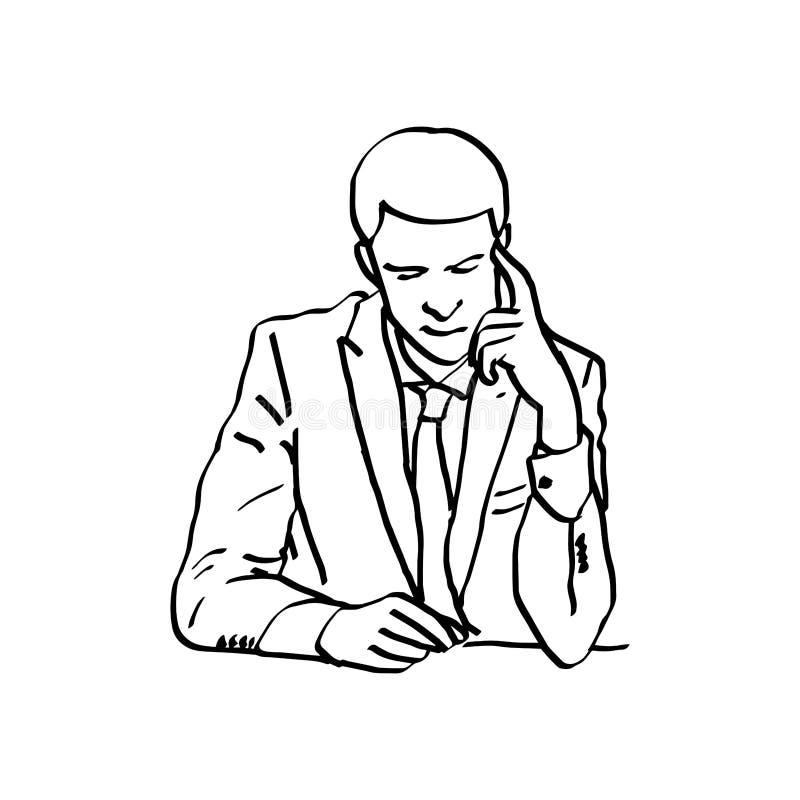 Le vecteur d'illustration gribouille le jeune touchin tiré par la main d'homme d'affaires illustration stock