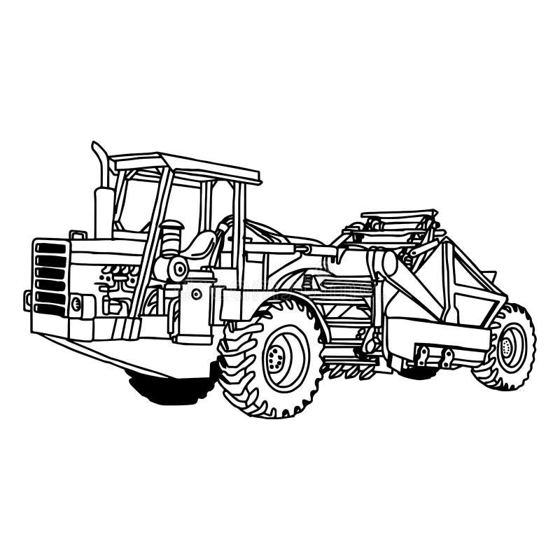 Le vecteur d'illustration gribouille tiré par la main de la roue avec avant-train tracteur illustration de vecteur