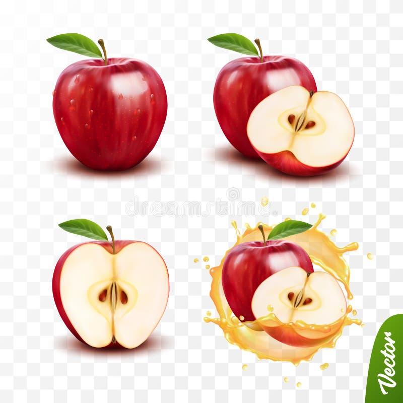 le vecteur 3d d'isolement transparent réaliste a placé, totalité et tranche de la pomme, pomme dans une éclaboussure de jus a illustration stock