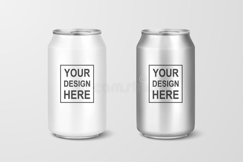 Le vecteur 3d réaliste vident le paquet en aluminium de bière d'argent brillant en métal ou peuvent 330ml visuel Peut être employ illustration de vecteur