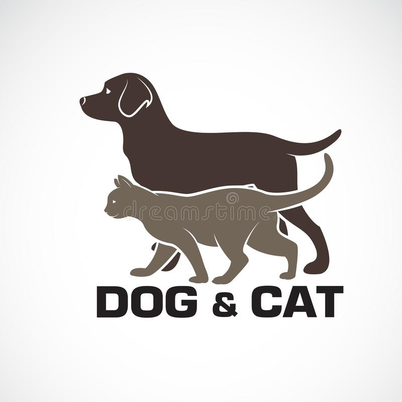 Le vecteur d'un chien et d'un chat con?oivent sur le fond blanc Animal Logo ou icône d'animal familier Illustration pos?e editabl illustration de vecteur