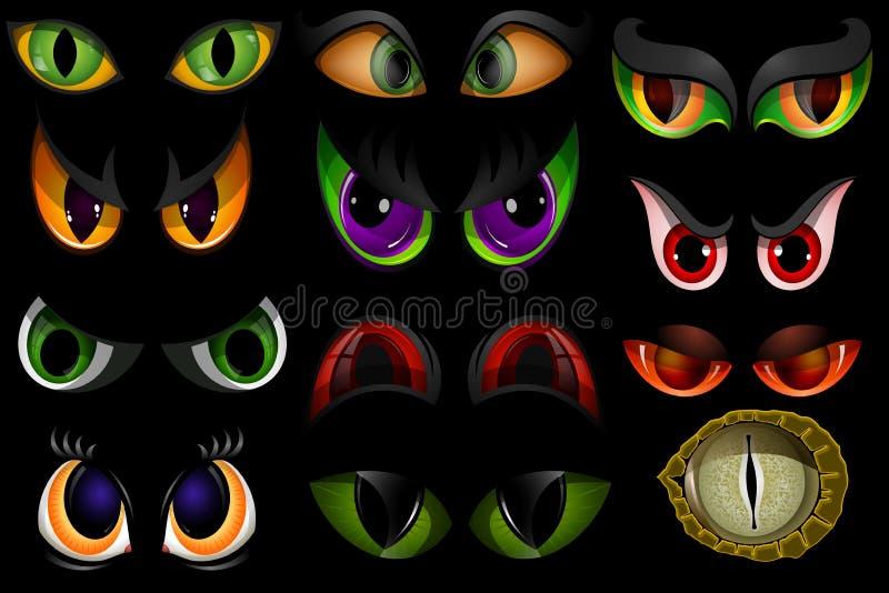 Le vecteur de bande dessinée observe des globes oculaires d'animaux de monstre de diable de bête des expressions fâchées ou effra illustration de vecteur