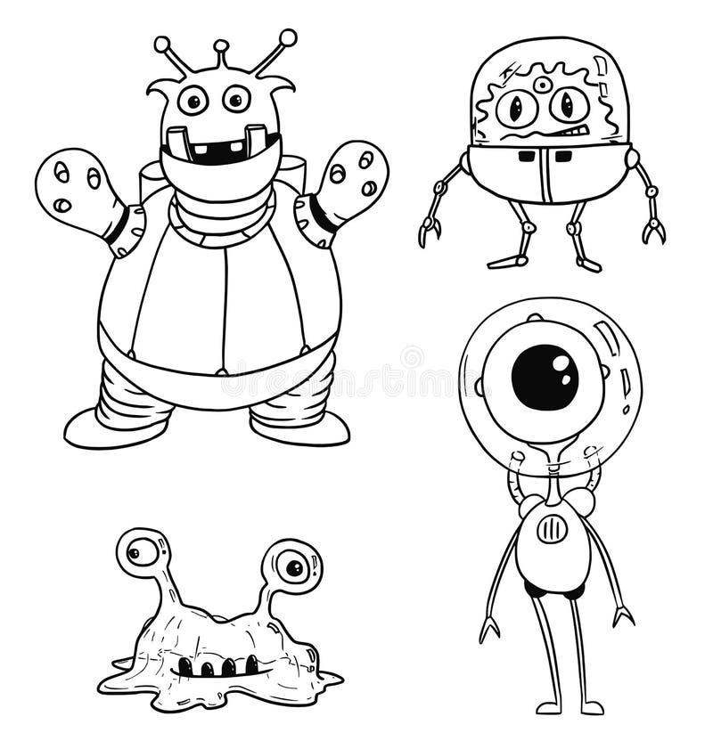 Le vecteur de bande dessinée a placé 02 d'astronautes amicaux d'étrangers illustration de vecteur