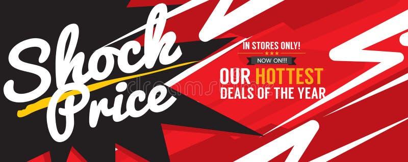 Le vecteur de bannière de vente de promotion d'affaire le plus chaud des prix de choc illustration stock