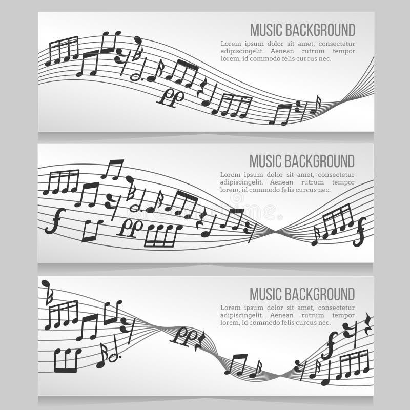 Le vecteur de bannières de musique a placé avec les notes et l'onde sonore illustration stock