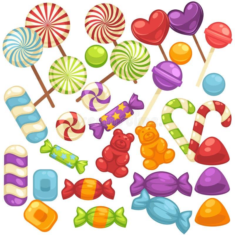 Le vecteur de bonbons à sucrerie et à caramel a isolé les icônes plates réglées illustration de vecteur