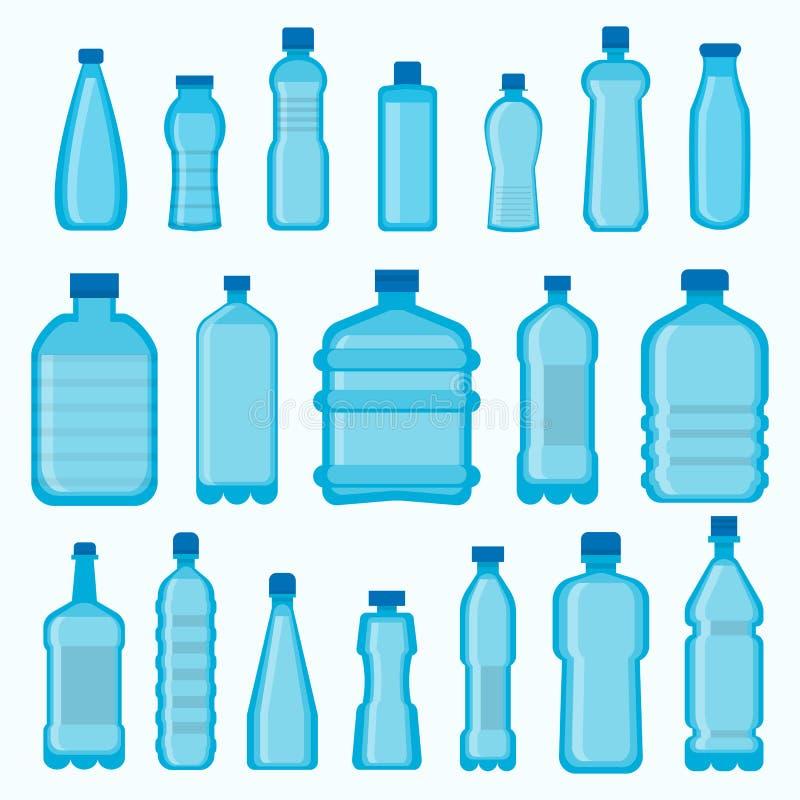 Le vecteur de bouteilles de plastique a isolé des icônes réglées illustration stock
