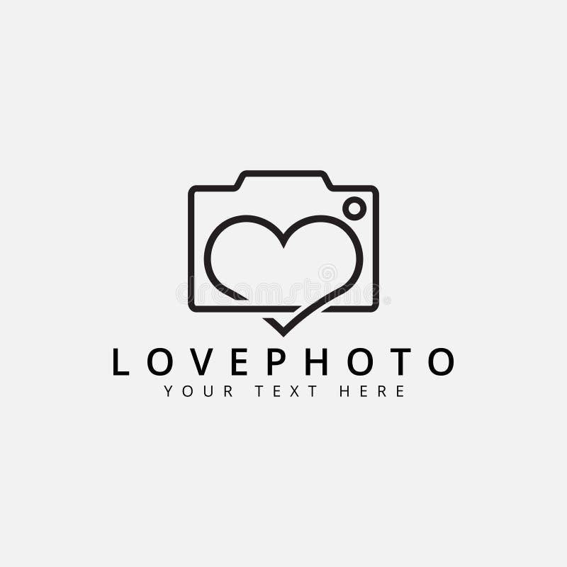Le vecteur de calibre de conception de logo de photo d'amour a isolé illustration libre de droits