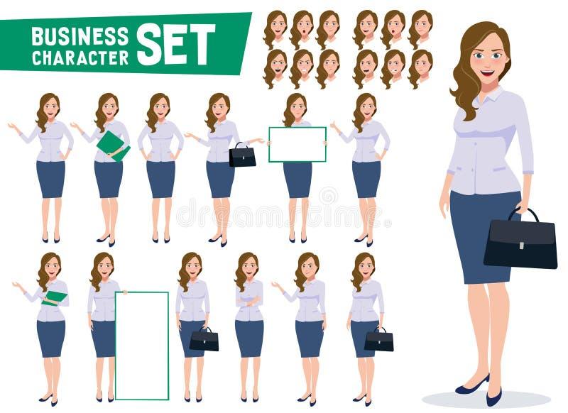 Le vecteur de caractère de femme d'affaires a placé avec le jeune employé de bureau féminin professionnel illustration libre de droits