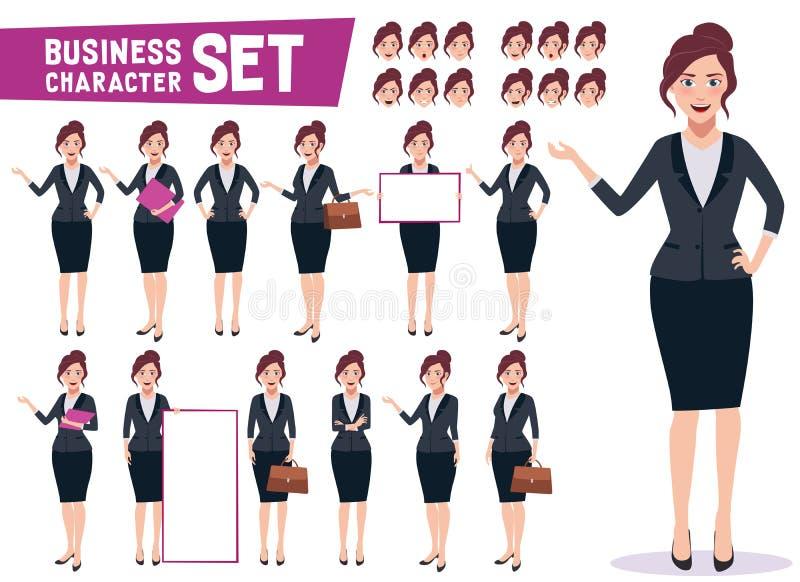 Le vecteur de caractère de femme d'affaires a placé avec la jeune femelle professionnelle heureuse illustration libre de droits