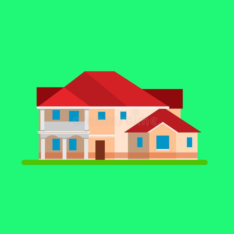 Le vecteur de Chambre établissant l'icône d'immobiliers a isolé Structure plate extérieure de cottage d'illustration de famille à illustration de vecteur