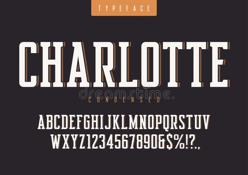 Le vecteur de Charlotte a condensé le rétro oeil d'un caractère, lettres majuscules et illustration de vecteur