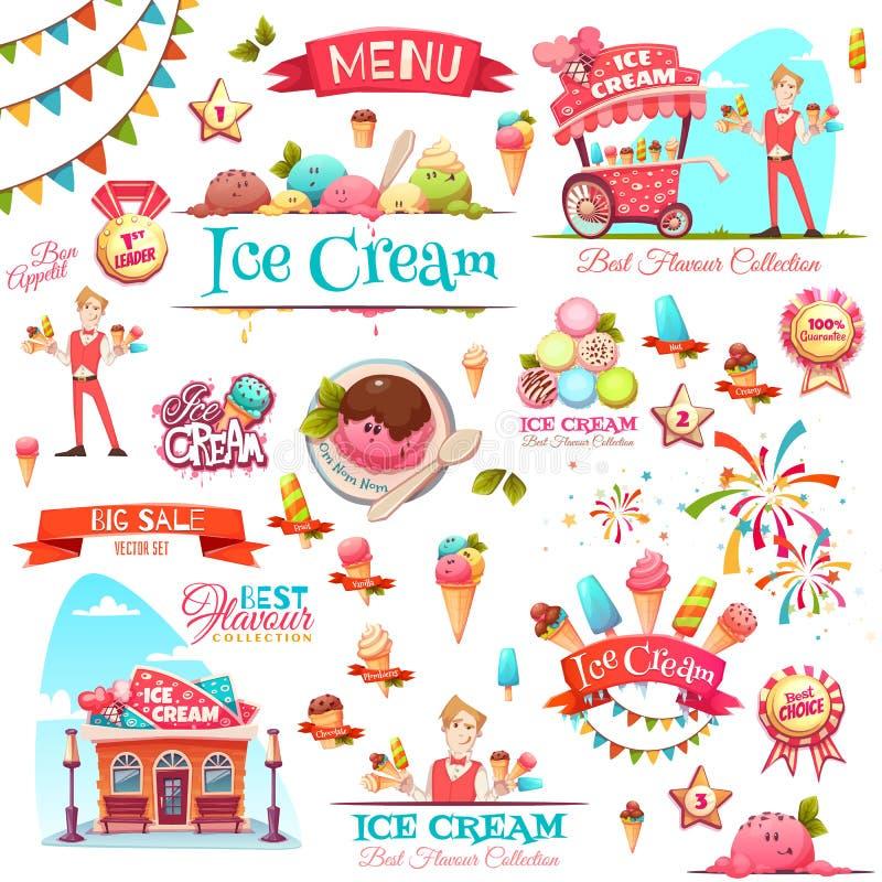 Le vecteur de crème glacée a placé avec des icônes et des illustrations de bannière illustration de vecteur