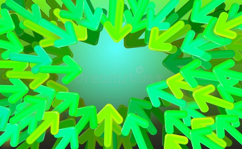 Le vecteur de démarrage de conception de fond, les flèches vertes a dirigé vers le milieu Illustration variable de longueur de fl illustration de vecteur