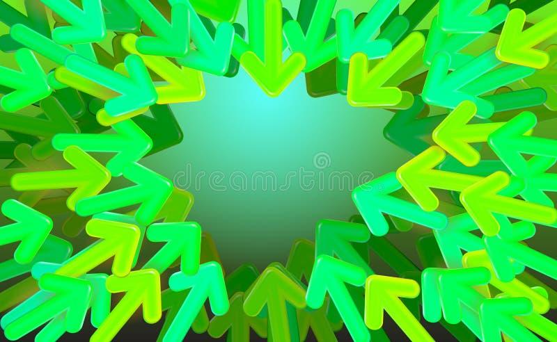 Le vecteur de démarrage de conception de fond, les flèches vertes a dirigé vers le milieu Illustration variable de longueur de fl illustration libre de droits